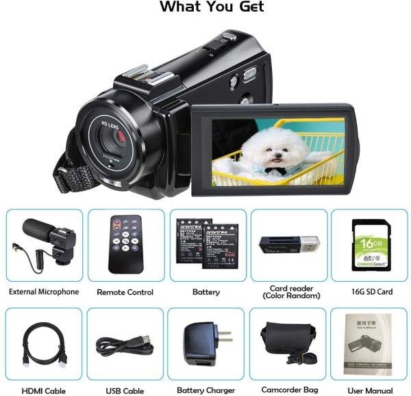 Filmadora Ordro Fhd 1080p 30fps 24mp 16gb Sd Card 2 Baterias.