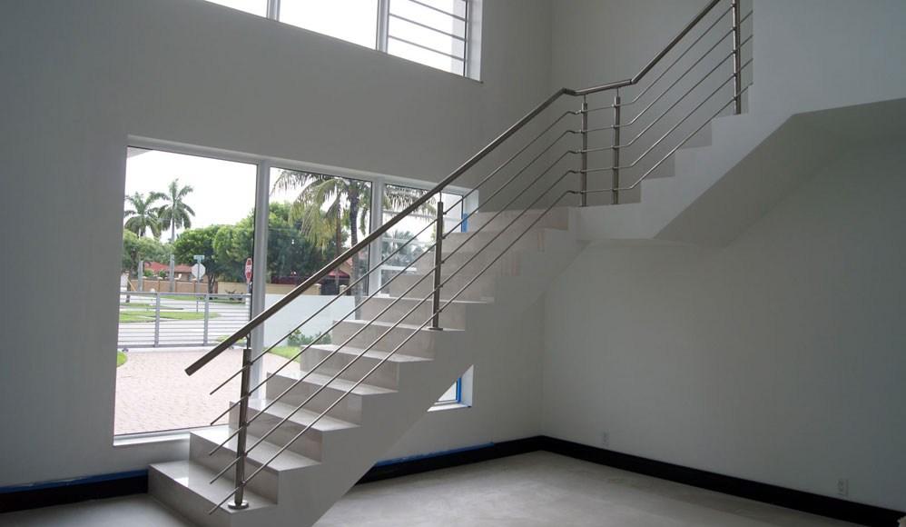 Stairs Glass Railings Stainless Railings Wood Railings | Iron And Wood Railing | Rod Iron | Interior | Deck | Custom | Horizontal