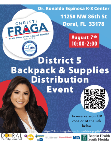 District 5 Back to School Backpack and School Distribution @ Dr. Rolando Espinosa K-8 Center | Doral | Florida | United States