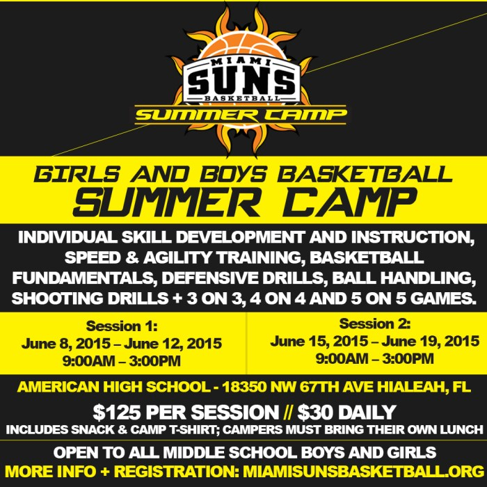 2015 suns summer camp flyer