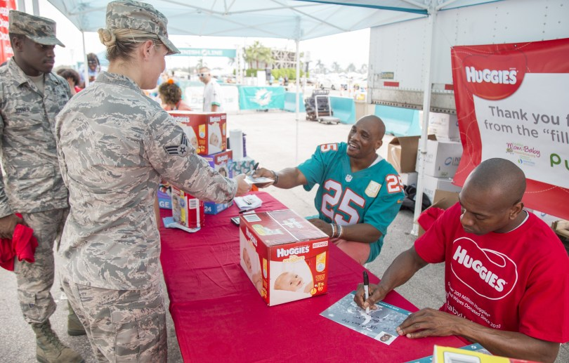 Huggies and the Miami Dolphins team up to tackle Diaper Needs Awareness Week. on Sunday, Sept. 25, 2016 in Miami Gardens, Fla. (Jesus Aranguren/AP Images for Huggies)