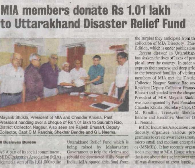 Press Release of MIA Donates for Uttarakhand Disaster Relief
