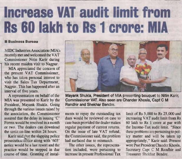VAT Commissioner; The Hitvada, Nagpur, October 18th, 2013