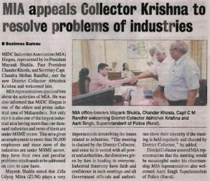 MIA Office Bearers Meet Dist. Collector - Press Release (Hitavada, Friday, 7th March)