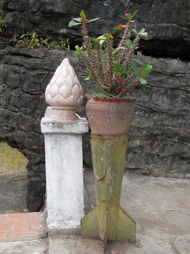 Planter, Wat Phra That Chomsi, Luang Prabang, Laos
