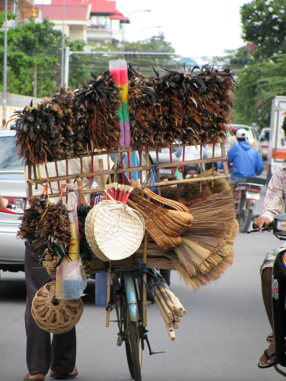 Feather duster vendor, Phnom Penh, Cambodia