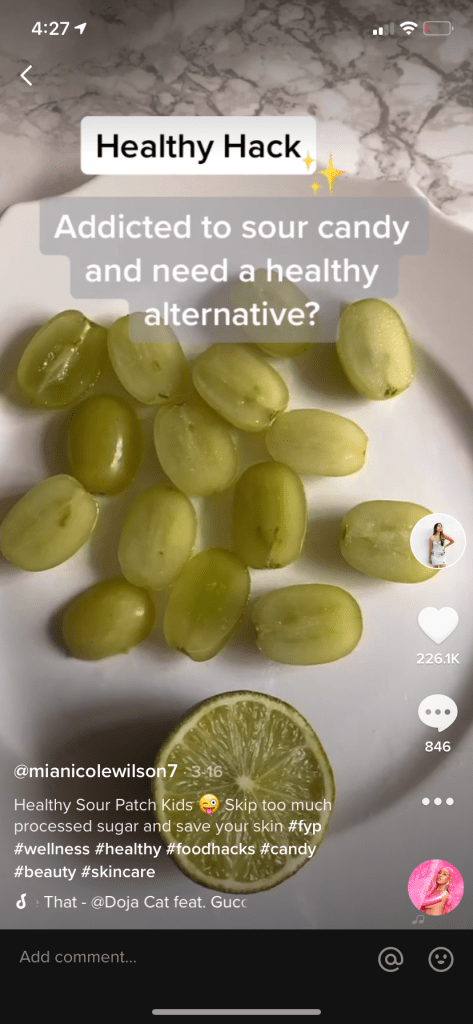 Sour Patch Grapes Viral TikTok Screenshot How To Make Candy Grapes Healthy Alternative to Sour Candy