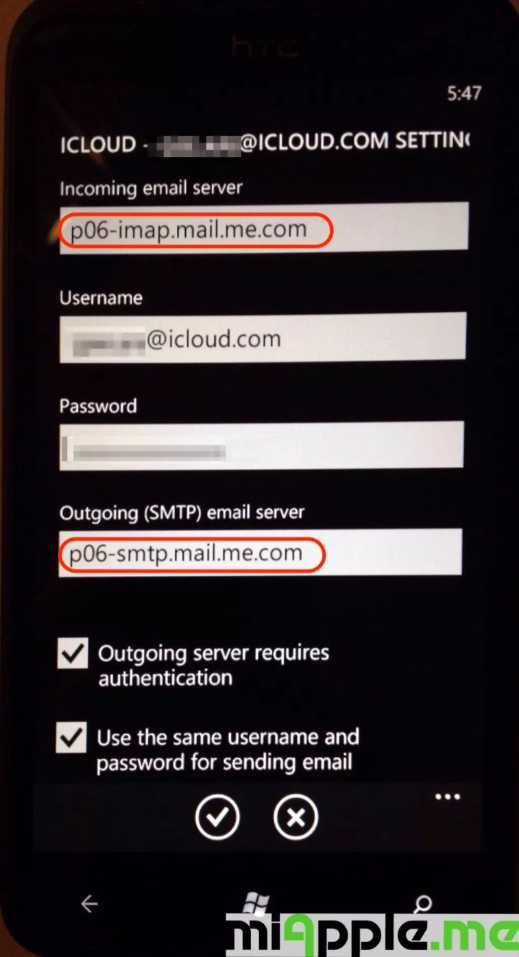 iCloud email set up on Windows Phone 7 and Windows Phone 8: Change IMAP and SMTP settings to p06-imap.mail.me.com and p06-smtp.mail.me.com