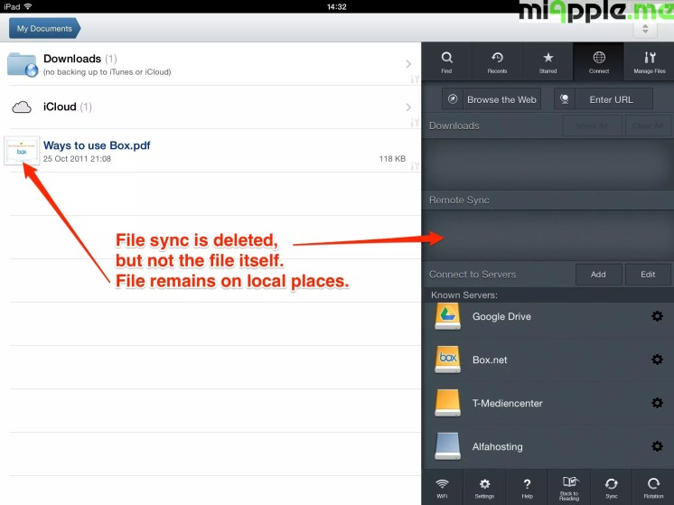 GoodReader File Manager delete syncing: File sync is deleted, but not the file itself. File remains on local places.