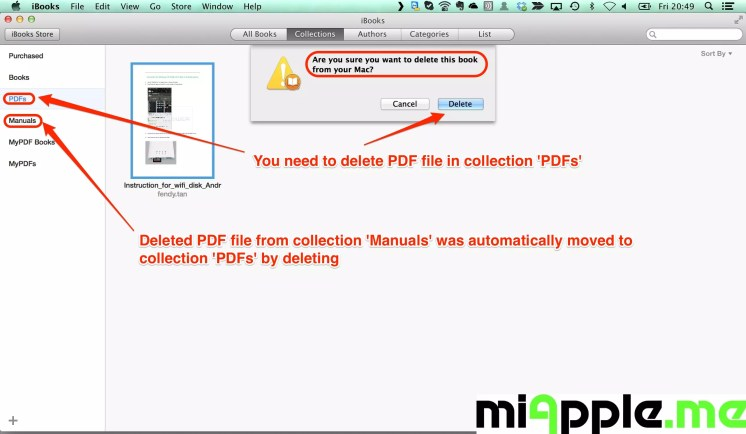 Deleted PDF file from collection 'Manuals' was automatically moved to collection 'PDFs' by deleting. You need to delete PDF file in collection 'PDFs'.