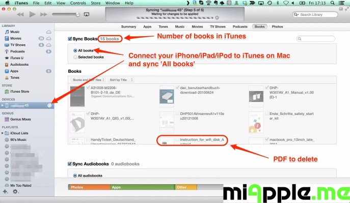Connect your iPhone/iPad/iPod to iTunes on Mac and sync 'All books'.