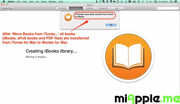 After 'Move Books from iTunes...' all books (iBooks, ePub books and PDF files) are transferred from iTunes for Mac to iBooks for Mac