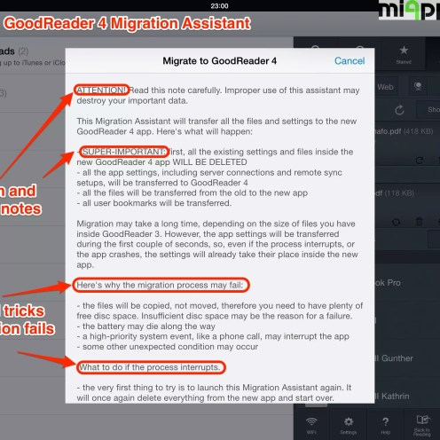 GoodReader 4 migration assistant step 2: Attention and warning notes. Tips and tricks if migration fails or stops.