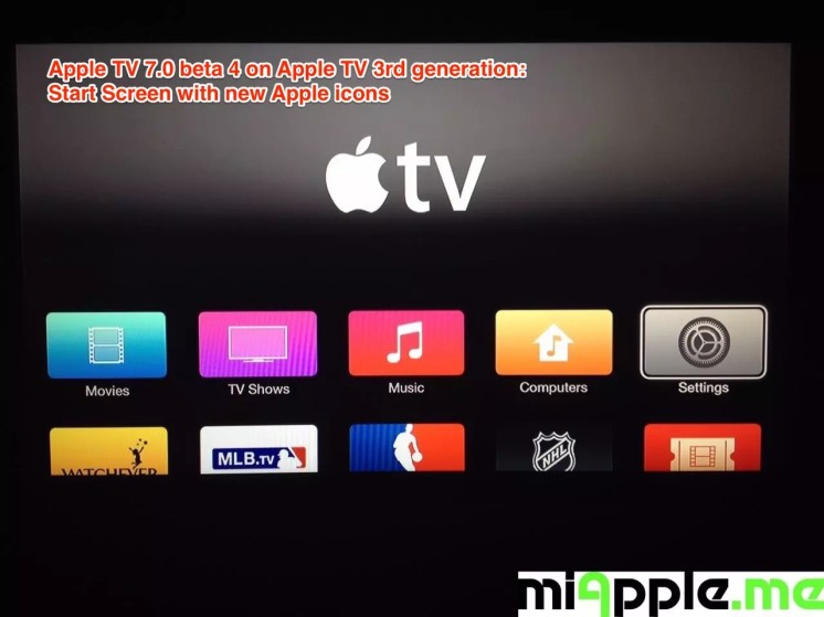 Apple TV 7.0 beta 4 build number 6885 Start Screen 1