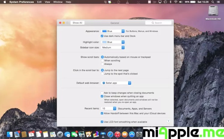 Mac OS X 10.10 Yosemite Dark Mode