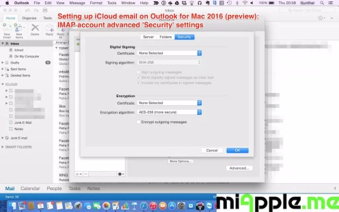 Setting up iCloud email on Outlook for Mac 2016 preview_08_IMAP account advanced Security