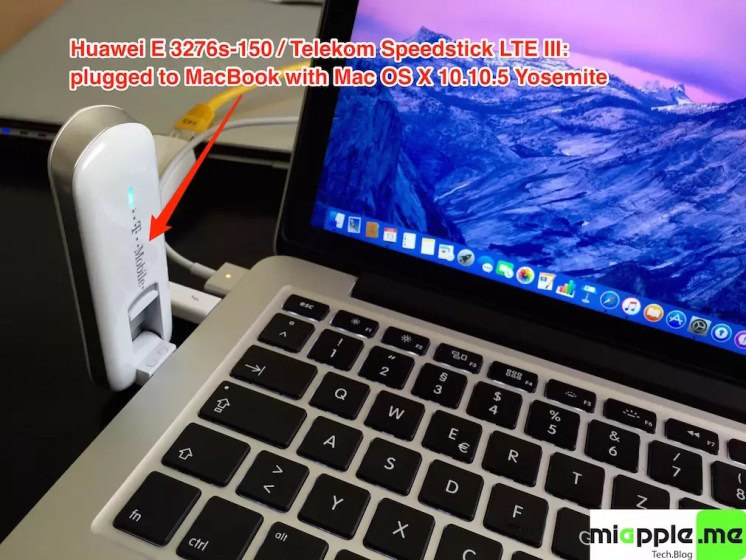 Huawei E3276s-150 T-Mobile Surfstick III_05_plugged to MacBook with Mac OS X 10.10.5 Yosemite