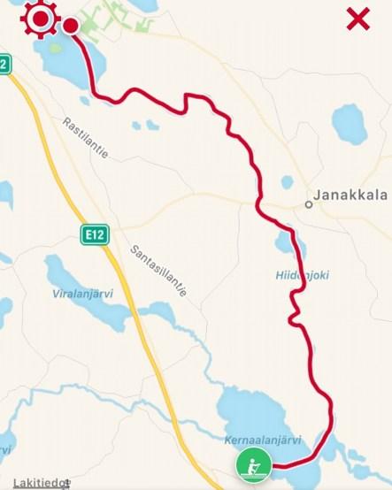 Reitti, 19,71 km