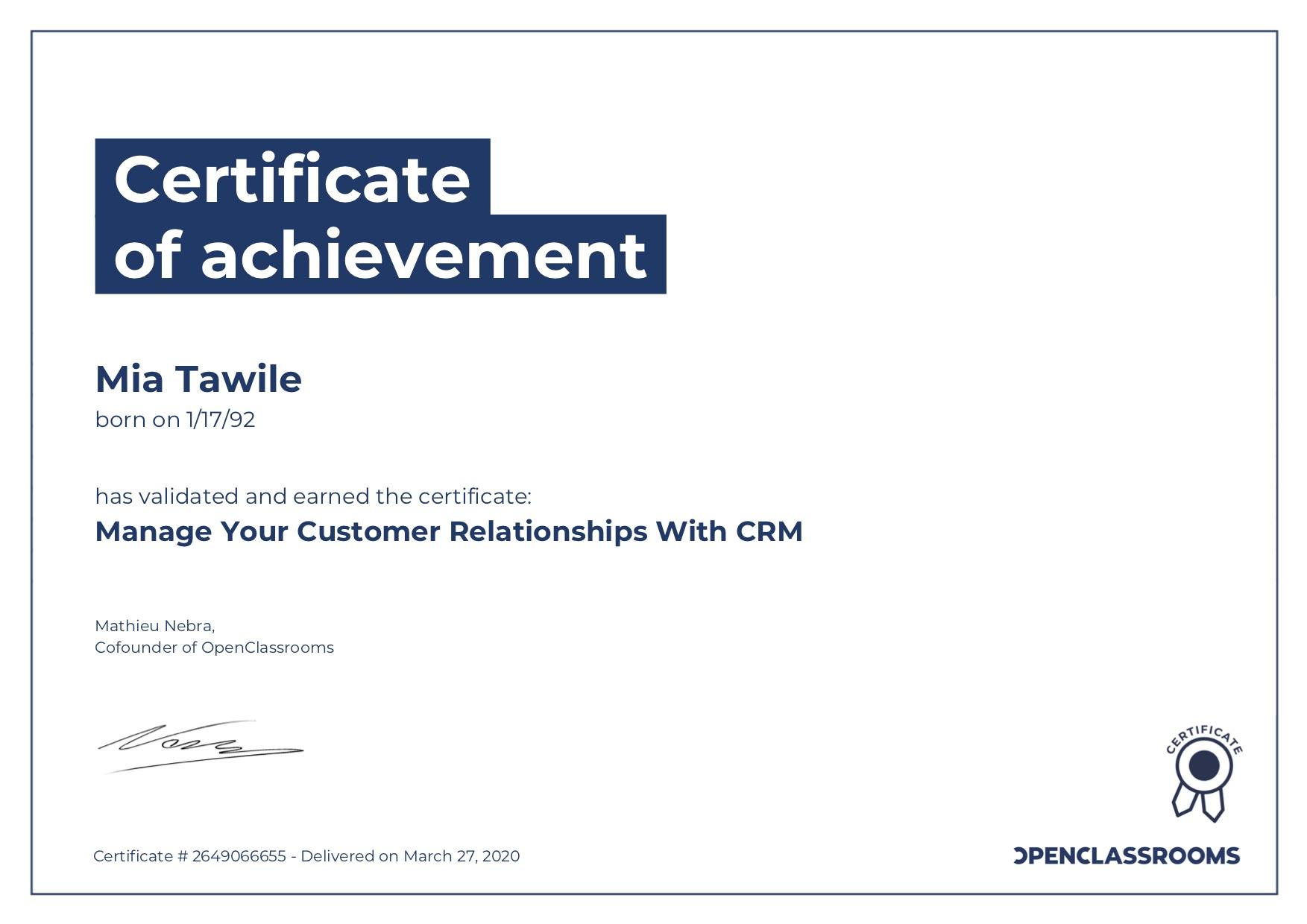 CRM Certificate