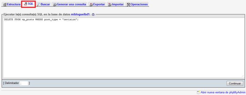 Ejecutar la consulta SQL