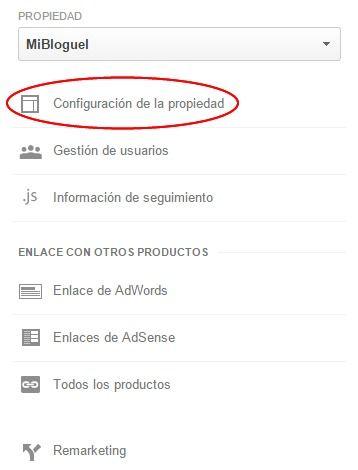 Configuración de la propiedad en Google Analytics