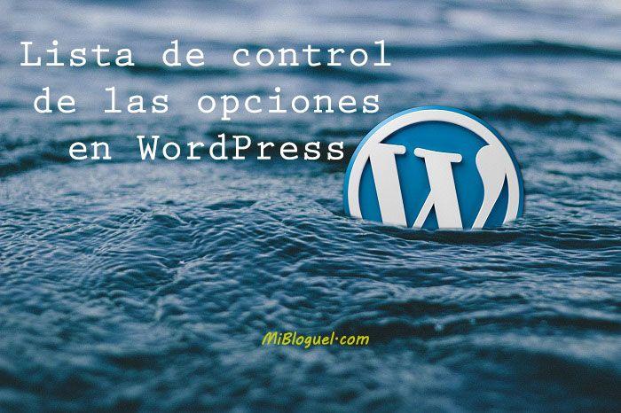 Opciones en WordPress
