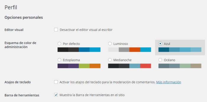 Perfil en WordPress