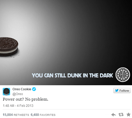 Tweet de Oreo en la Superbowl