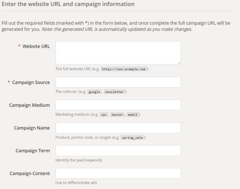 Campaign URL Builder - Formulario