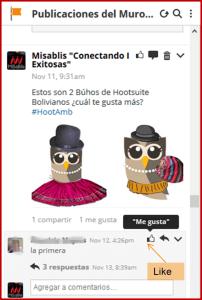 Like comentario Hootsuite