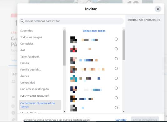 Listas de Facebook contactos