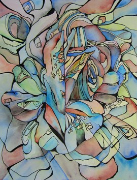 """Granny's Rose Abstracted, 11 x 14"""" Ink and watercolor on paper"""