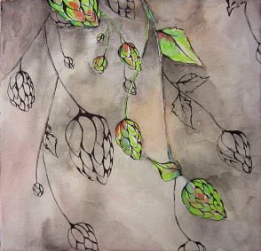 """Hops and Berries, 12 x 12"""" Watercolor and ink on canvas"""