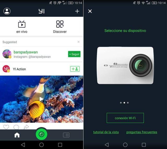 apps cámaras deportivas yi action