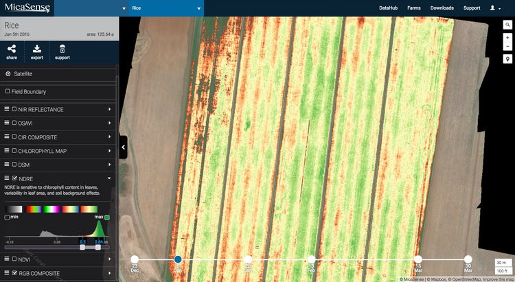 NDVI map revels a non-uniform application of urea