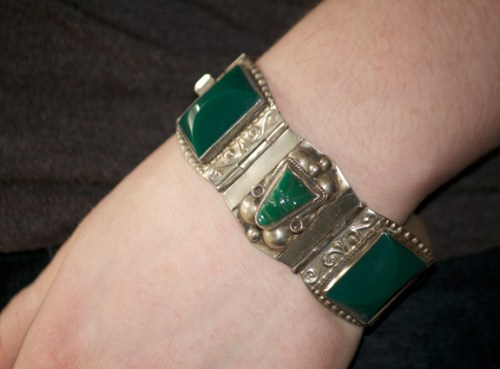 Sterling silver and green stone bracelet- Mexican 30s