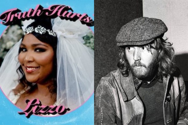 A picture of Lizzo and Harry Nilsson. Rolling Stone chose both of their songs for their 500 Best Songs list.