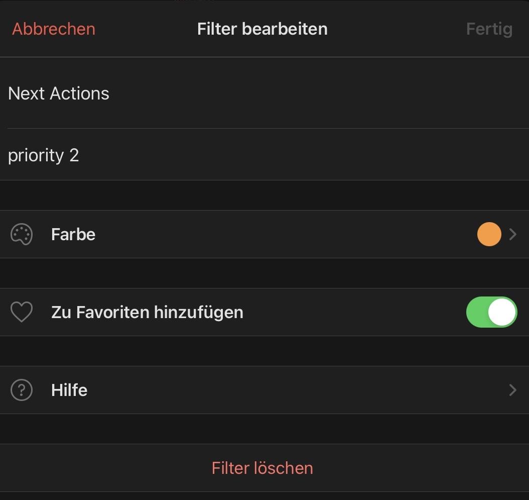 """Mein Todoist-Filter für """"Next Actions"""": P2 = Prioritätslevel 2."""