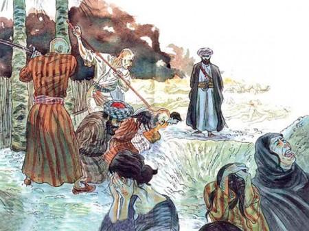 Der Prophet Mohammed (Hintergund) und seine Getreuen schlachten die Männer des jüdischen Stammes Banu Quureiza (Bildquelle: http://nocompulsion.com/safiyah-the-jewish-forced-bride-of-prophet-muhammad/)
