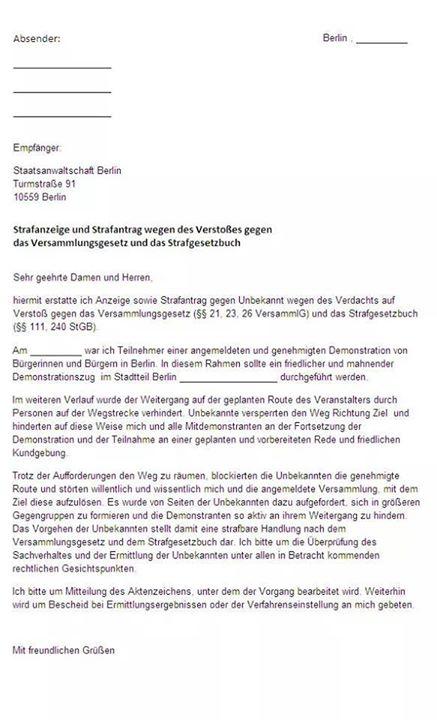 Strafanzeigebei Verstoss gegen_das_Versa sammlungsgesetz