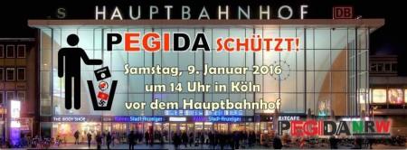Pegida schuetzt Demo Koeln