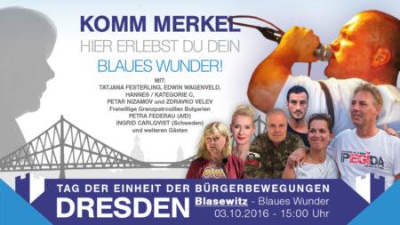 """Zum Tag der deutschen Einheit mobilisiert """"Festung Europa"""" deutschlandweit nach Dresden. Ganz klar im Vordergrund soll die Einheit aller Widerstands-Bewegungen stehen. Jede Bewegung ist herzlich eingeladen, ihre Banner mitzubringen (Parteiwerbung ausgeschlossen)."""