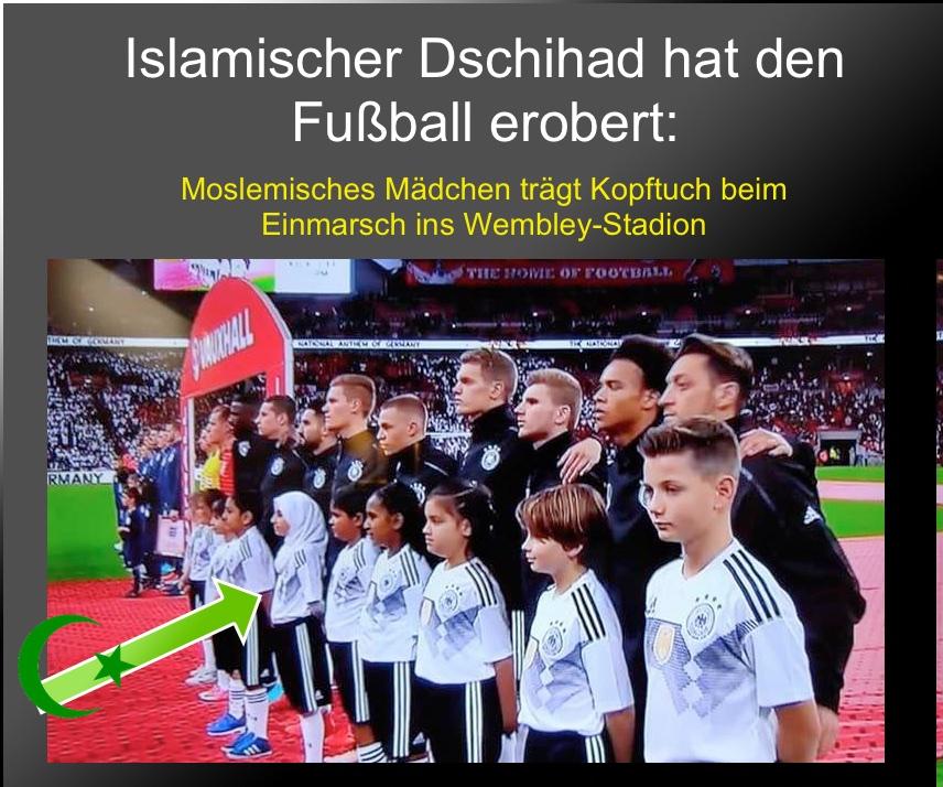 Skandal bei Fußballspiel Deutschland gegen England: Der DFB lässt ein islamisches Mädchen mit Koptuch in die Arena