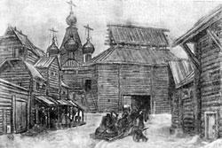 У стен деревянного города. Автолитография А.М.Васнецова