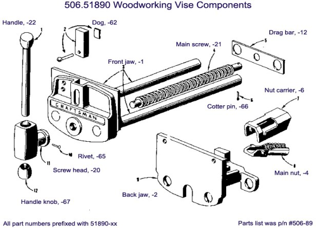 Parts diagram showing components for a Craftsman 506-51890 Woodworking Vise