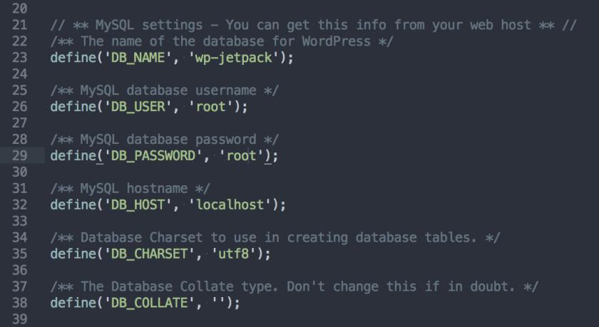 wp-config settings