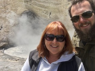 MY MOTHER AND I IN FRONT OF THE MUD VOLCANO!!!!