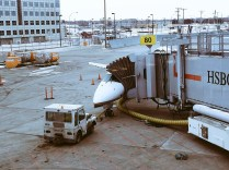 Giant metal worm eating a plane.