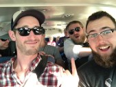 The very best people in a van heading to the airport in Belize.