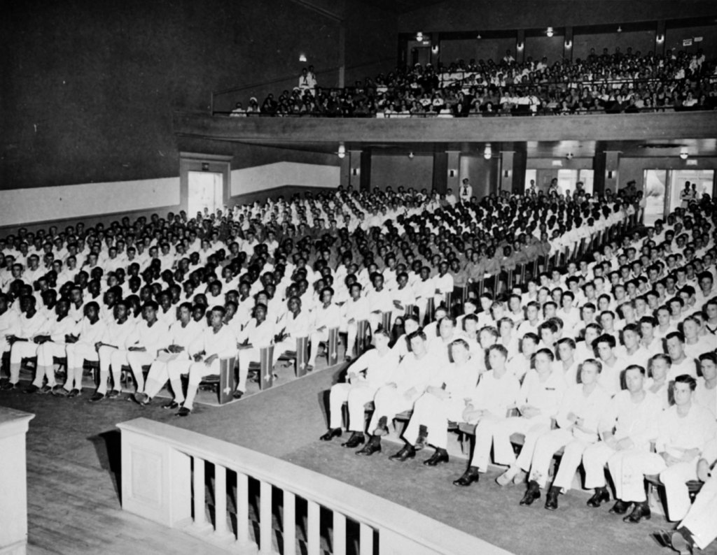 Segregated Paul Robeson concert at Naval Training Station, Great Lakes, Illinois, 1943.